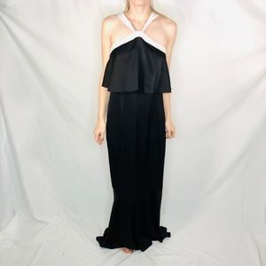 Rachel Zoe Black Tiered Gown White Trim Dress 0660